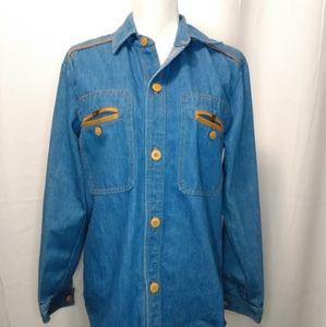 Vintage long sleeve denim button down shirt